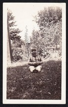 Antique Vintage Photograph Adorable Little Baby Sitting on Lawn - $5.35