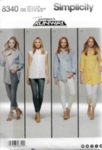 Simplicity Project Runway Pattern #8340 Misses Shirts w/Length-Sleeve Va... - $9.46