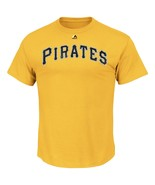 Pittsburgh Pirates Men's Majestic Wordmark High Density Print Jersey T-S... - $12.95