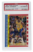 Magic Johnson L.A. Lakers Signed 1987 Fleer Sticker #1 Card Slabbed PSA/DNA - $116.39