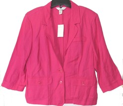 Sz M ~ NWT$50 Christopher & Banks Pink Linen Blend Blazer Jacket w/ 3/4 ... - $37.99