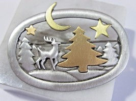 VINTAGE JJ PIN PEWTER AND GOLD TONE PINE TREES REINDEER OPEN WORK PRETTY... - $27.00