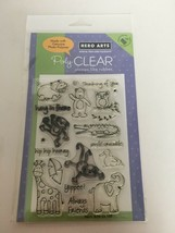 Hero Arts Clear Polyphotomer Stamps Playful Animals Thinking of You Hippo Monkey - $9.99