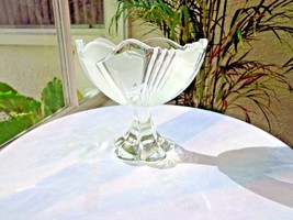 "Mikasa Crystal Pedestal Centerpiece Bowl Frosted Highlights 5 5/8"" Wide - $29.69"