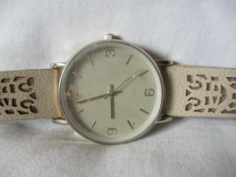 Accutime Watch Gold Toned Case Round Face Beige Buckle Band Stylish - $29.00