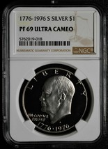 1776 - 1976 S Silver Dollar Eisenhower Ike $1 NGC PF69 Ultra Cameo Coin SKU# C77