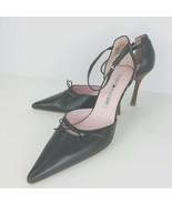 Tommy Hilfiger Charcoal Gray Leather Pointed Toe Heels PumpsAnkle Strap ... - $39.59