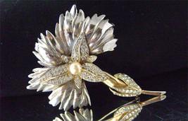 Vintage Trifari Clear Rhinestone Pearl Carnation Brooch A Philippe 1940's - $65.00