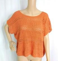 Denim & Supply Ralph Lauren Boat Neck Pullover L Orange Crochet Pointelle Boho - $9.50