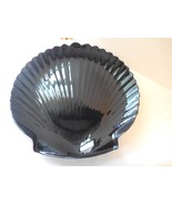 """Arcopal Coquillage Black Glass Shell Shaped Serving Platter Plate 13"""" Sc... - $12.99"""