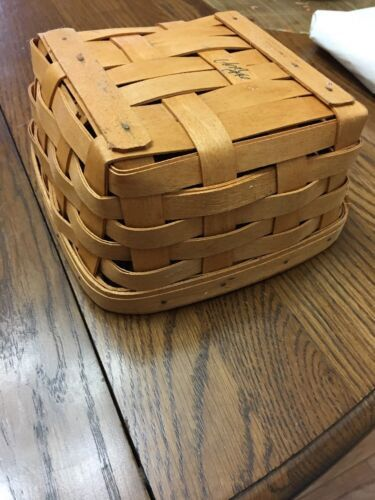 """Vintage Longaberger Basket Handwoven Signed #d 7""""x7""""x3.5"""" 1996"""
