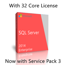 Microsoft SQL Server 2014 Enterprise SP3 w. 32 Core License, unlimited U... - $886.05