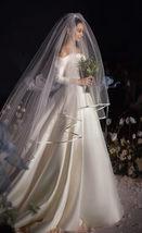 Cathedral Length Wedding Bridal Veil Full Edge Tulle White Veils Wedding Photo  image 2