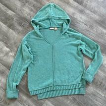 North Crest Knit Hoodie Sweater Teal Green Medium - $32.98