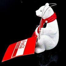 "Kurt S. Adler Coca-Cola Glitter Polar Bear w Coke Case 3.5"" Christmas Ornament image 4"