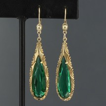 Kordes & Lichtenfels Germany BIG Art Deco Rolled Gold Simulated Emerald ... - $19.99
