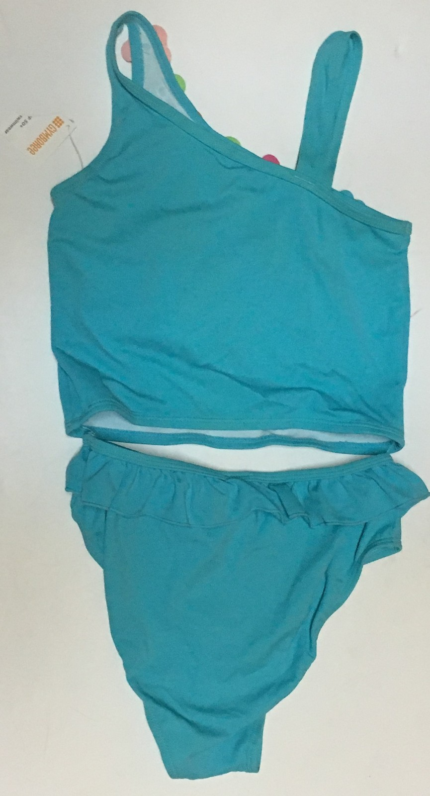 Youth Two Piece Swimwear Swimsuit Sz 12 Blue Floral SPF 50+ image 5