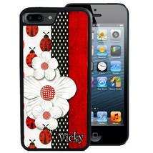 PERSONALIZED RUBBER CASE FOR iPHONE XR XS MAX X 8 7 6 PLUS LADY BUG FLOWERS - $13.98