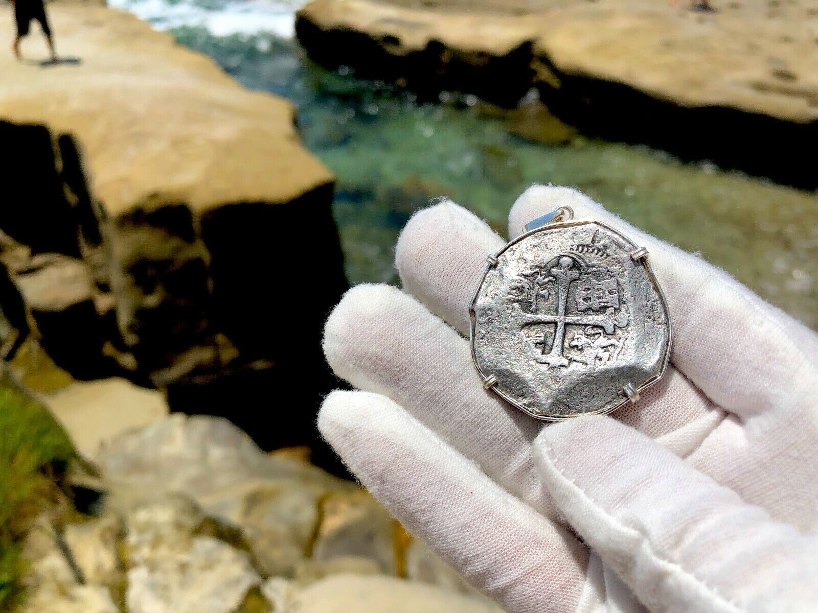 """MEXICO 8 REALES ND """"1629 SPICE SHIPWRECK"""" PENDANT PIRATE COINS NECKLACE JEWELRY"""