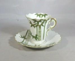 Japanese Shofu Cup & Saucer Expresso Porcelain Green Bamboo Pattern Vintage - $5.00