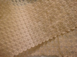 "VTG Lace Fabric Table Topper Runner 60""X13"" Ecru Beige Scallop Edge Mid ... - $11.83"