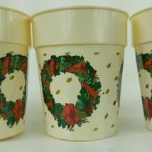 "Vintage Set of 4 Mini Christmas Wreath Cups 3.75"" Tall EUC - $10.39"