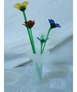 "Hand Blown Murano Glass 4 Mini 5½""-8"" Long Stem Flowers Satin Jack Pulpi... - $85.45"