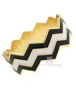 Bold Womens Black White Hinged Cuff Goldtone Chevron Zig Zag Bold Bracelet - $20.21