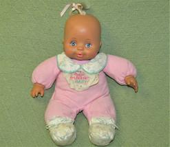 VINTAGE TYCO MAGIC BOTTLE BABY DOLL NEWBORN 1990 PINK PAJAMAS with BIB G... - $27.12