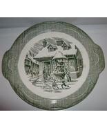 "Royal USA The Old Curiosity Shop Handled Cake Plate 11.5"" Winter Scene - $19.99"