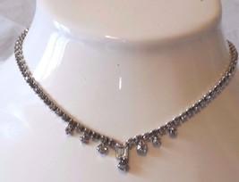 Prom! Vintage White Emerald Cut Rhinestone Necklace - $18.99