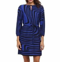 Tahari ASL Dress Sz 4 Black Cobalt Blue ELTON Printed Shift Career Cockt... - $59.35