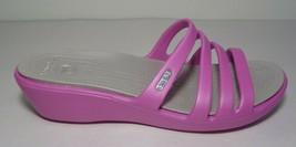 Crocs Size 10 RHONDA Wild Orchid Platinum Wedge Sandals New Womens Shoes - $64.35
