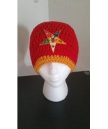 Order of Eastern Star Handmade Crochet Beanie-Red - $23.00