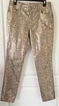 Metallic Gold Snakeskin Jeans CHICO'S Platinum Denim Sz 0.5r 30/29 Skinn... - $23.90