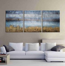 "ARTLAND Modern 100% Hand Painted Abstract Oil Painting on Canvas ""Blue L... - $52.82"