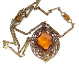 Gorgeous Vintage Art Deco Bezel Set Topaz Rhinestone Brass Filigree Neck... - $123.75