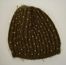 Anthropologie Sleeping On Snow Beanie Olive Green Rhinestone Rib Knit Hat - $34.65