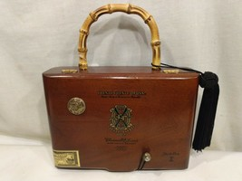 Rare Wood Handbag Cigar Box With Bamboo Handle Purse Chateau de la Fuent... - $95.12