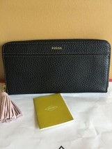 Fossil %Authentic BLACK TARA CLUTCH ZIP AROUND WALLET WITH TASSEL NWT - $39.99