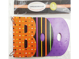 """Chipboard Mini Book, Halloween Whimsey Collection """"BOO"""""""