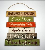 WELCOME FALL Harvest Blessings Wall Door Hanging Sign, Thanksgiving Autu... - $8.75
