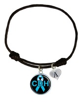 Custom Congenital Diaphragmatic Hernia Awareness Black Leather Unisex Bracelet - $14.99