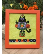 Black Cat Halloween Scaredy Cat cross stitch chart Amy Bruecken Designs - $6.00