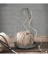 Rustic CHICKEN WIRE CLOCHE With JUTE Country Primitive Farmhouse Twine Holder - £31.08 GBP