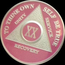 Pink & Silver Plated 20 Year AA Chip Alcoholics Anonymous Medallion Coin XX - $20.39