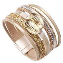 ALLYES Double Leaf Charm Leather Bracelets For Women Boho Crystal Wide Multilaye - $10.76