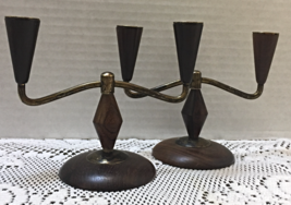 Vintage Mid Century Mod Wood & Metal Small Candelabras Candle holders - $10.50