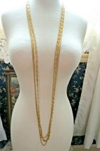 """Monet Necklace Multi Chain Long 51"""" Designer Gold Plated Oval Links NICE Cond image 1"""