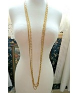 """Monet Necklace Multi Chain Long 51"""" Designer Gold Plated Oval Links NICE... - $49.49"""
